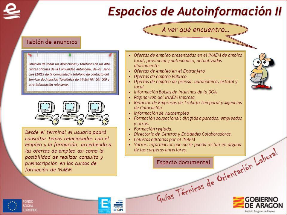 Espacios de Autoinformación II A ver qué encuentro… Desde el terminal el usuario podrá consultar temas relacionados con el empleo y la formación, acce