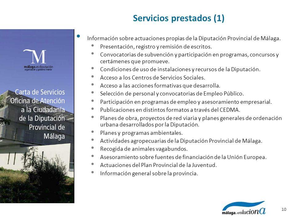 Servicios prestados (1) Información sobre actuaciones propias de la Diputación Provincial de Málaga. Presentación, registro y remisión de escritos. Co
