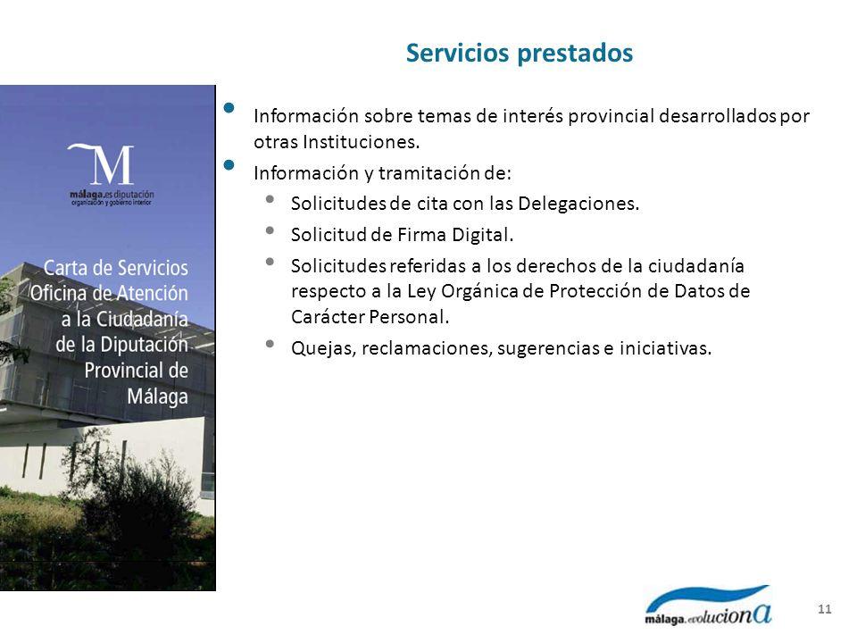 Servicios prestados Información sobre temas de interés provincial desarrollados por otras Instituciones. Información y tramitación de: Solicitudes de