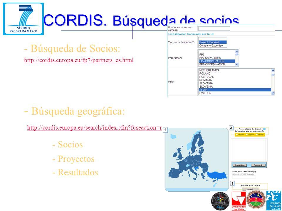 - Búsqueda de Socios: http://cordis.europa.eu/fp7/partners_es.html - Búsqueda geográfica: http://cordis.europa.eu/search/index.cfm?fuseaction=map.home http://cordis.europa.eu/search/index.cfm?fuseaction=map.home - Socios - Proyectos - Resultados CORDIS.