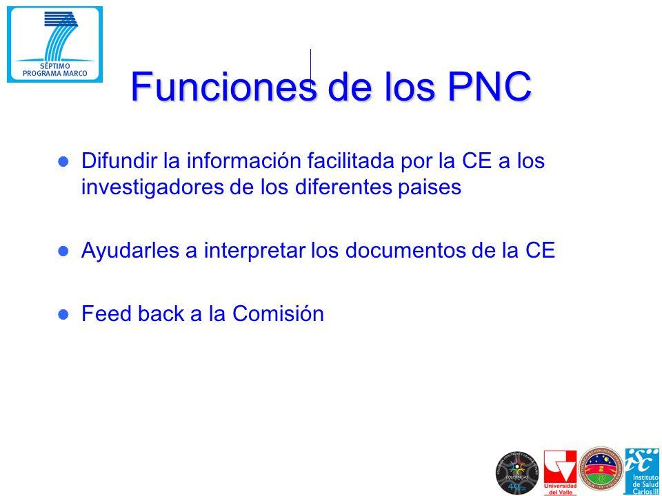 Funciones de los PNC Difundir la información facilitada por la CE a los investigadores de los diferentes paises Ayudarles a interpretar los documentos de la CE Feed back a la Comisión