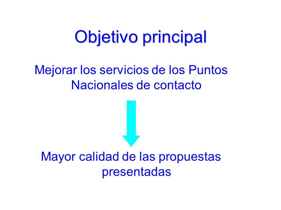 Objetivo principal Mejorar los servicios de los Puntos Nacionales de contacto Mayor calidad de las propuestas presentadas