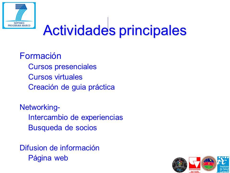 Actividades principales Formación Cursos presenciales Cursos virtuales Creación de guia práctica Networking- Intercambio de experiencias Busqueda de socios Difusion de información Página web
