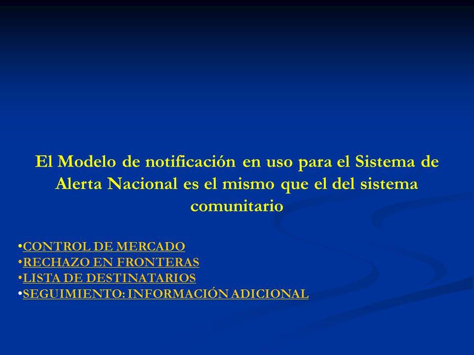 El Modelo de notificación en uso para el Sistema de Alerta Nacional es el mismo que el del sistema comunitario CONTROL DE MERCADO RECHAZO EN FRONTERAS LISTA DE DESTINATARIOS SEGUIMIENTO: INFORMACIÓN ADICIONAL
