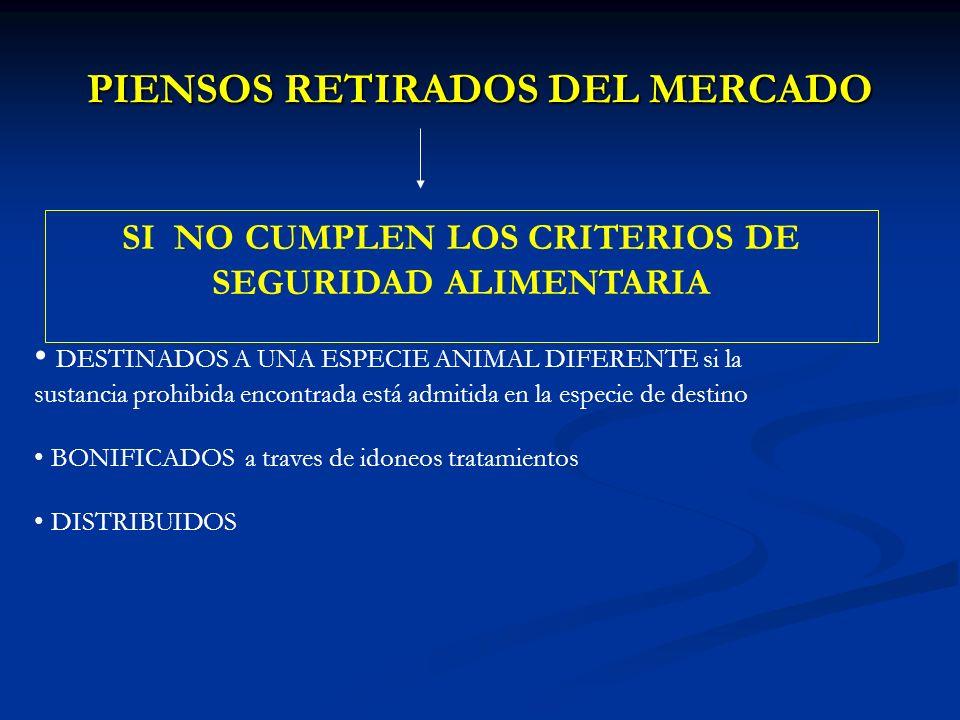 PIENSOS RETIRADOS DEL MERCADO SI NO CUMPLEN LOS CRITERIOS DE SEGURIDAD ALIMENTARIA DESTINADOS A UNA ESPECIE ANIMAL DIFERENTE si la sustancia prohibida encontrada está admitida en la especie de destino BONIFICADOS a traves de idoneos tratamientos DISTRIBUIDOS