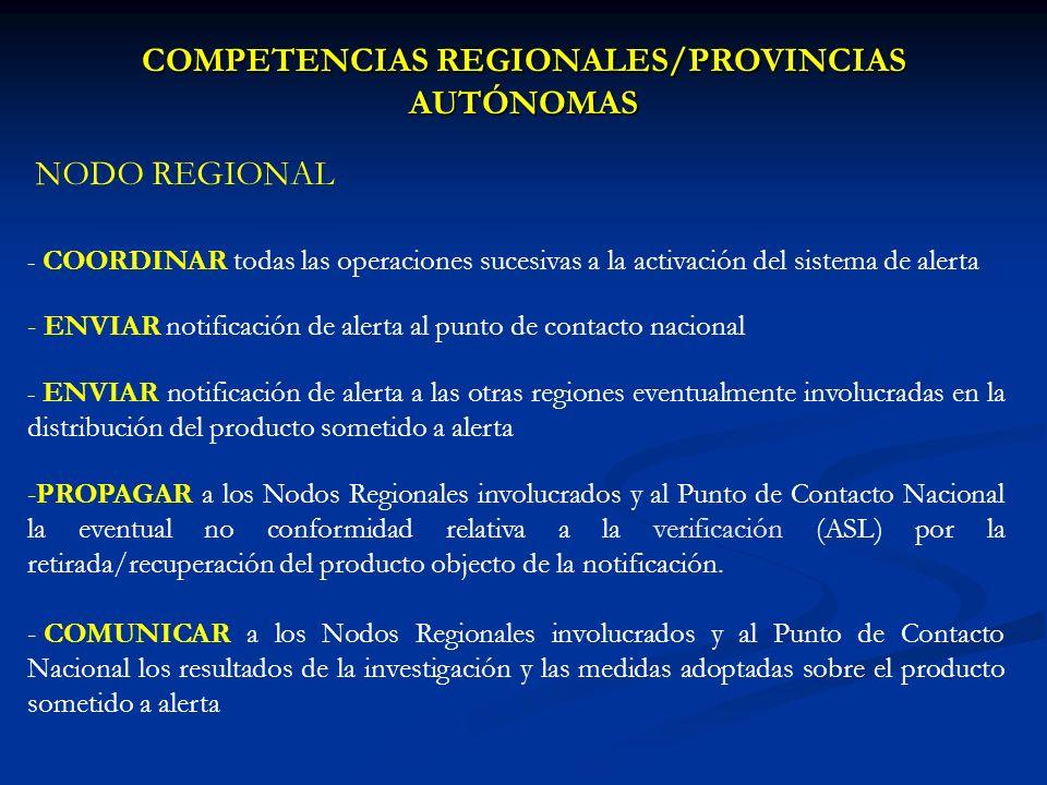 COMPETENCIAS REGIONALES/PROVINCIAS AUTÓNOMAS NODO REGIONAL - COORDINAR todas las operaciones sucesivas a la activación del sistema de alerta - ENVIAR notificación de alerta al punto de contacto nacional - ENVIAR notificación de alerta a las otras regiones eventualmente involucradas en la distribución del producto sometido a alerta -PROPAGAR a los Nodos Regionales involucrados y al Punto de Contacto Nacional la eventual no conformidad relativa a la verificación (ASL) por la retirada/recuperación del producto objecto de la notificación.