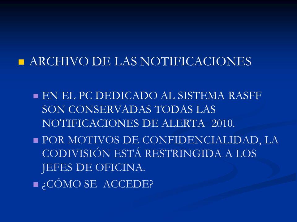 ARCHIVO DE LAS NOTIFICACIONES EN EL PC DEDICADO AL SISTEMA RASFF SON CONSERVADAS TODAS LAS NOTIFICACIONES DE ALERTA 2010. POR MOTIVOS DE CONFIDENCIALI