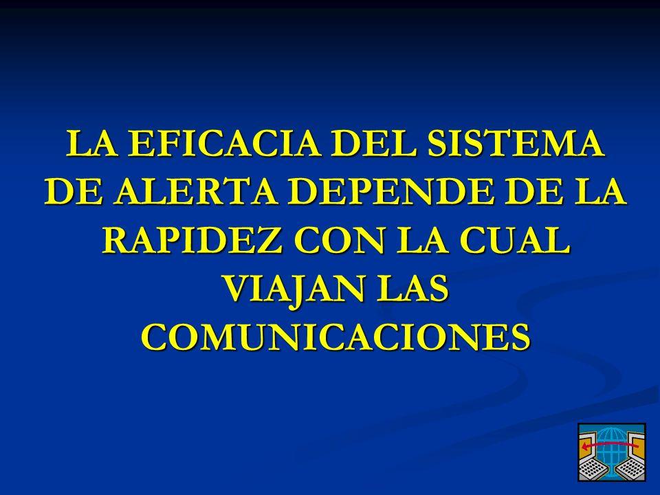 LA EFICACIA DEL SISTEMA DE ALERTA DEPENDE DE LA RAPIDEZ CON LA CUAL VIAJAN LAS COMUNICACIONES