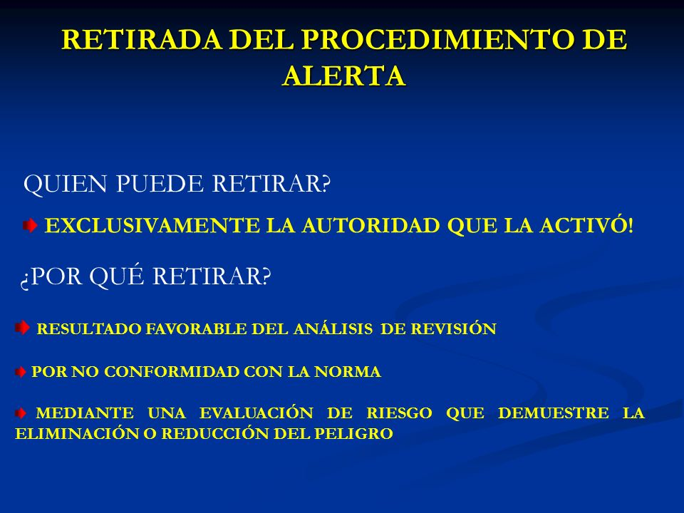 RETIRADA DEL PROCEDIMIENTO DE ALERTA QUIEN PUEDE RETIRAR.