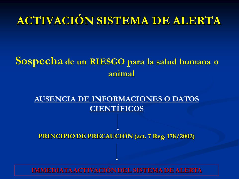 ACTIVACIÓN SISTEMA DE ALERTA Sospecha de un RIESGO para la salud humana o animal AUSENCIA DE INFORMACIONES O DATOS CIENTÍFICOS PRINCIPIO DE PRECAUCIÓN