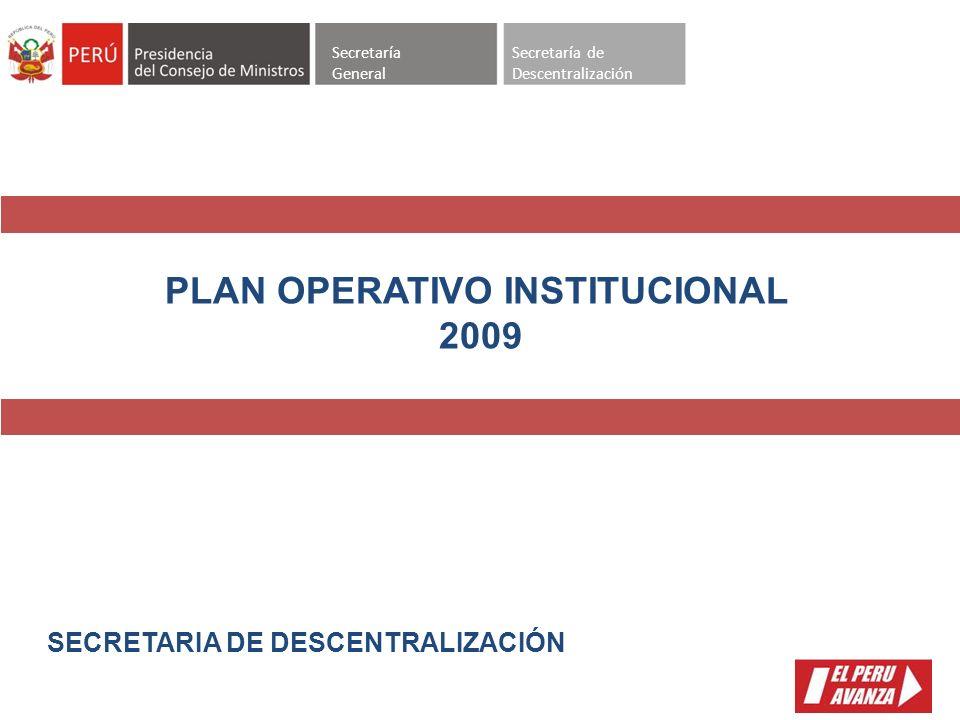 Secretaría General Secretaría de Descentralización SECRETARIA DE DESCENTRALIZACIÓN PLAN OPERATIVO INSTITUCIONAL 2009