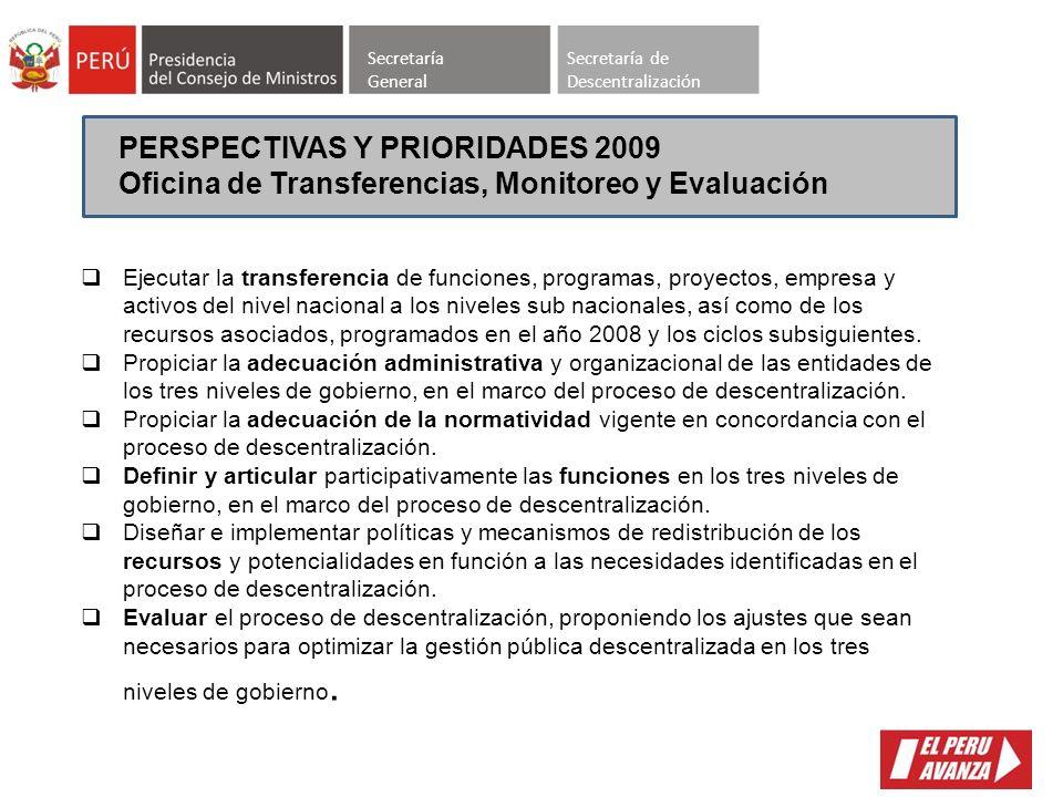 SECRETARIA DE DESCENTRALIZACION OFICINAS 1.TRANSFERENCIA, MONITOREO Y EVALUACION 2.DESARROLLO DE CAPACIDADES REGIONALES Y MUNICIPALES 3. GESTION DE IN