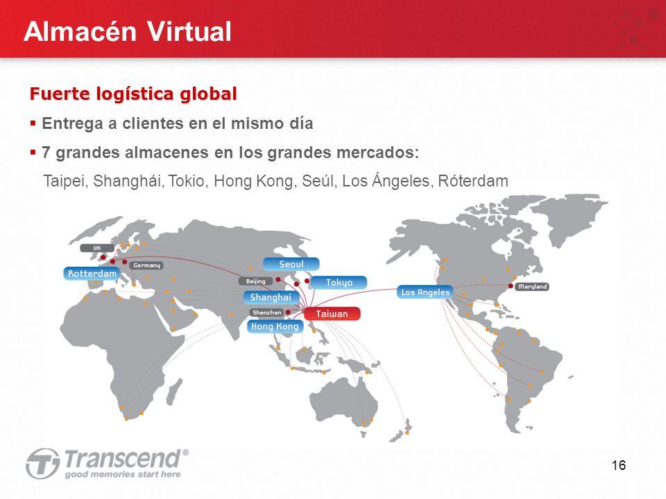16 Almacén Virtual Fuerte logística global Entrega a clientes en el mismo día 7 grandes almacenes en los grandes mercados: Taipei, Shanghái, Tokio, Hong Kong, Seúl, Los Ángeles, Róterdam