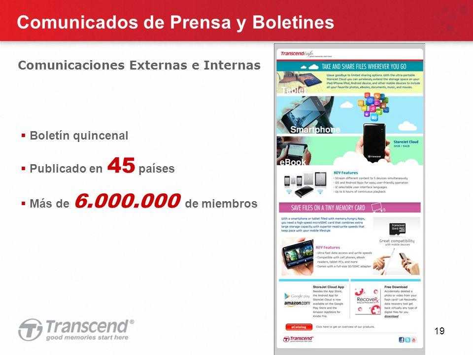 19 Comunicados de Prensa y Boletines Comunicaciones Externas e Internas Boletín quincenal Publicado en 45 países Más de 6.000.000 de miembros