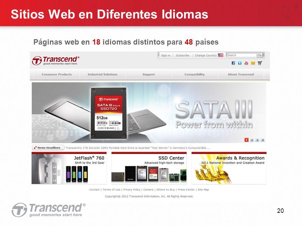 20 Sitios Web en Diferentes Idiomas Páginas web en 18 idiomas distintos para 48 países