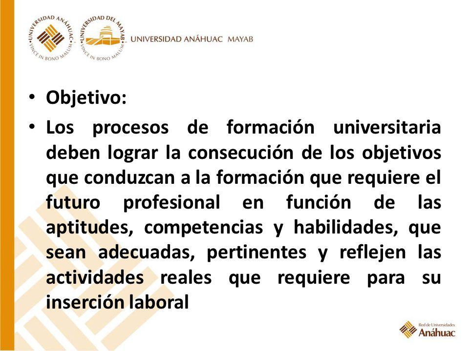Objetivo: Los procesos de formación universitaria deben lograr la consecución de los objetivos que conduzcan a la formación que requiere el futuro pro