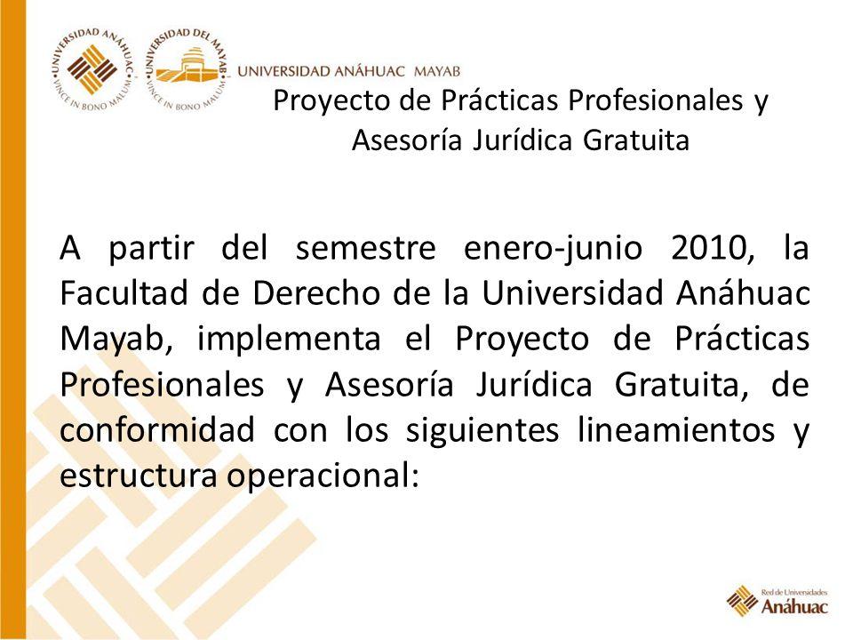 Proyecto de Prácticas Profesionales y Asesoría Jurídica Gratuita A partir del semestre enero-junio 2010, la Facultad de Derecho de la Universidad Anáh
