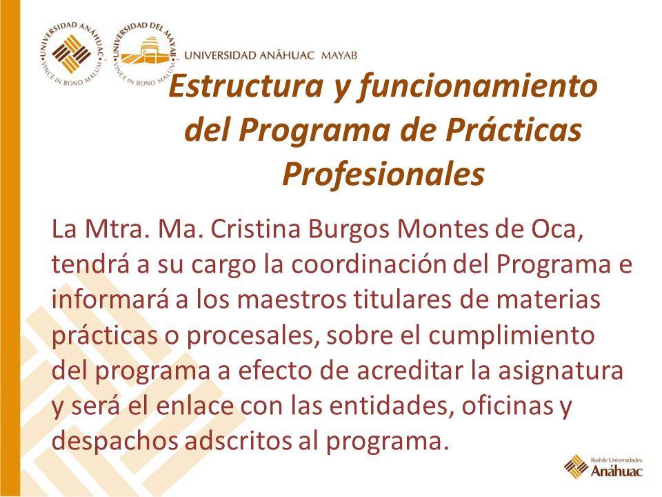 Estructura y funcionamiento del Programa de Prácticas Profesionales La Mtra. Ma. Cristina Burgos Montes de Oca, tendrá a su cargo la coordinación del