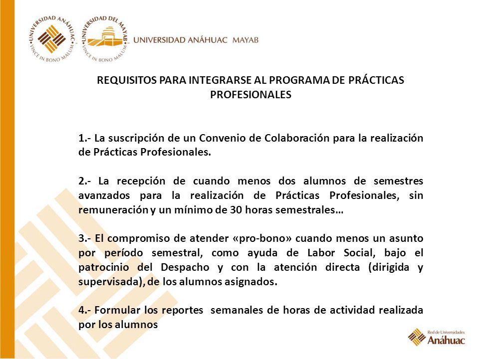 REQUISITOS PARA INTEGRARSE AL PROGRAMA DE PRÁCTICAS PROFESIONALES 1.- La suscripción de un Convenio de Colaboración para la realización de Prácticas P