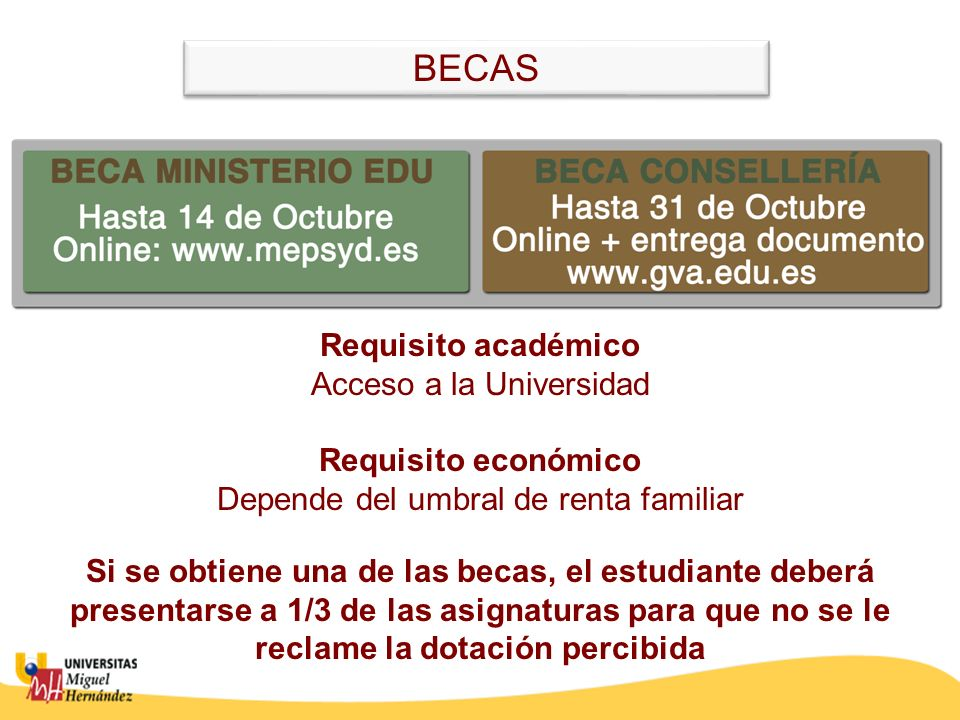 Requisito académico Acceso a la Universidad Requisito económico Depende del umbral de renta familiar Si se obtiene una de las becas, el estudiante deb