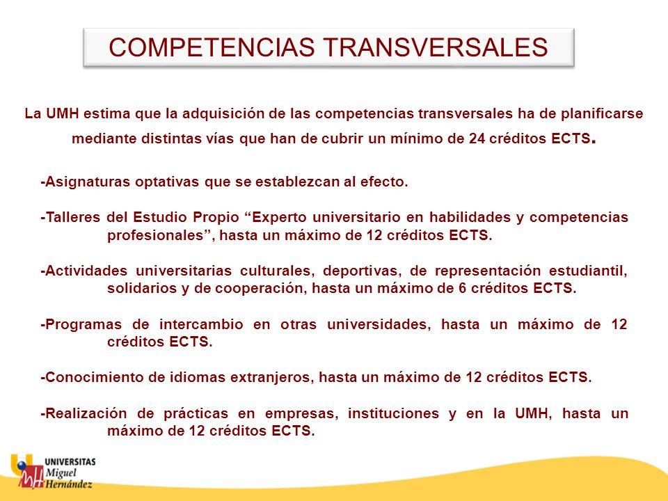 La UMH estima que la adquisición de las competencias transversales ha de planificarse mediante distintas vías que han de cubrir un mínimo de 24 créditos ECTS.