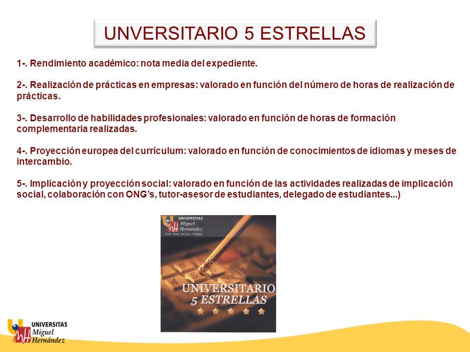 UNVERSITARIO 5 ESTRELLAS 1-. Rendimiento académico: nota media del expediente. 2-. Realización de prácticas en empresas: valorado en función del númer
