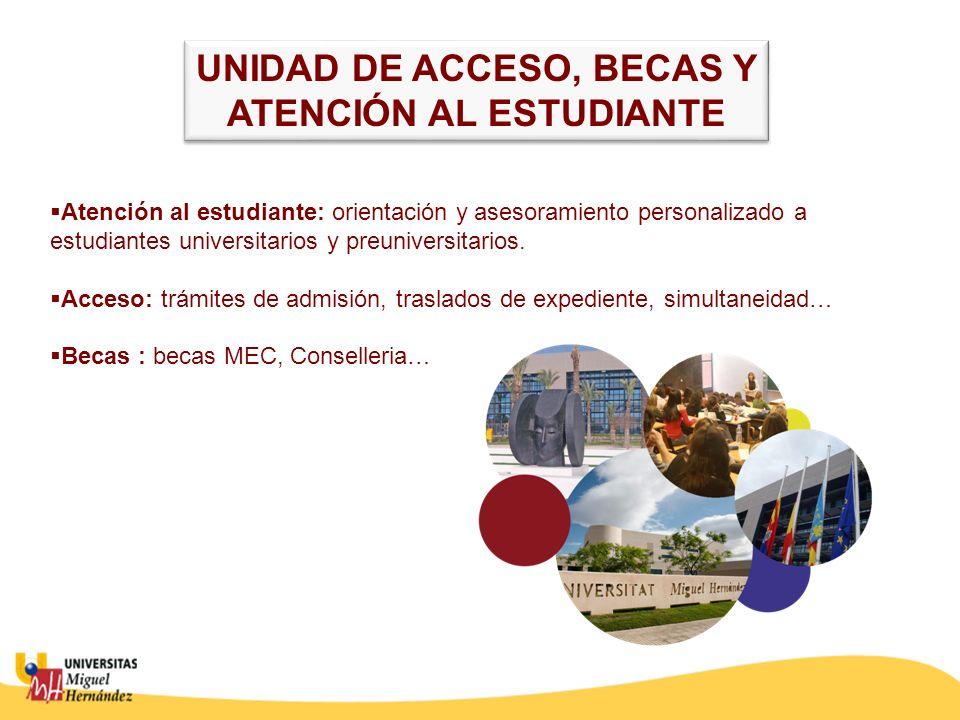Atención al estudiante: orientación y asesoramiento personalizado a estudiantes universitarios y preuniversitarios. Acceso: trámites de admisión, tras