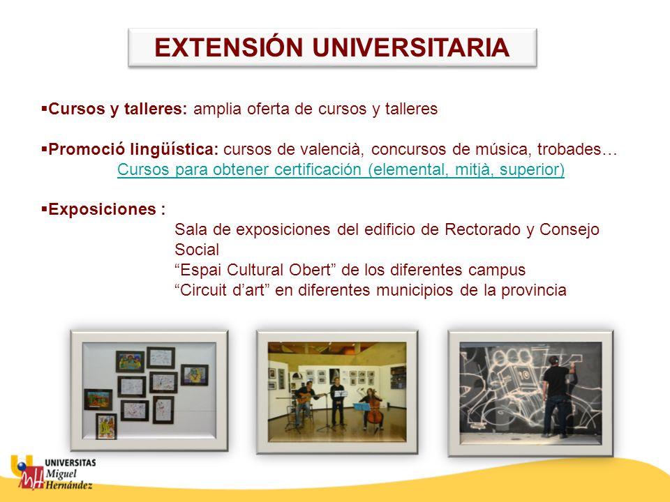 Cursos y talleres: amplia oferta de cursos y talleres Promoció lingüística: cursos de valencià, concursos de música, trobades… Cursos para obtener cer
