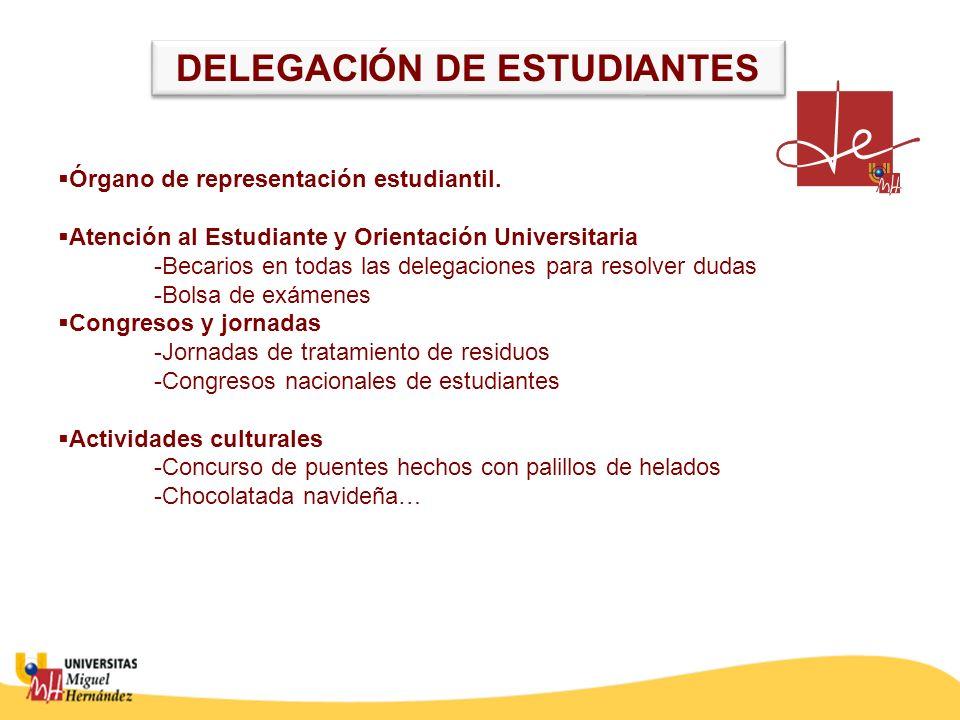 Órgano de representación estudiantil. Atención al Estudiante y Orientación Universitaria -Becarios en todas las delegaciones para resolver dudas -Bols