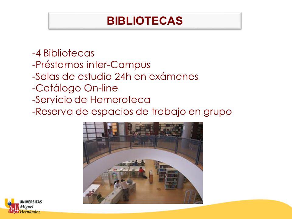 -4 Bibliotecas -Préstamos inter-Campus -Salas de estudio 24h en exámenes -Catálogo On-line -Servicio de Hemeroteca -Reserva de espacios de trabajo en grupo BIBLIOTECAS