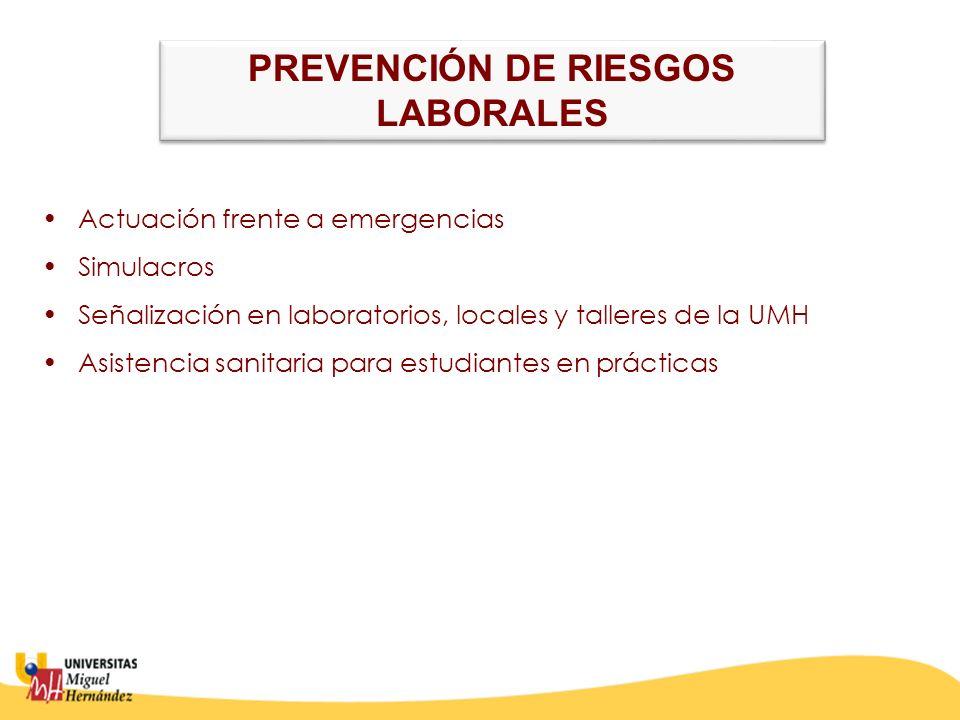 Actuación frente a emergencias Simulacros Señalización en laboratorios, locales y talleres de la UMH Asistencia sanitaria para estudiantes en prácticas PREVENCIÓN DE RIESGOS LABORALES PREVENCIÓN DE RIESGOS LABORALES