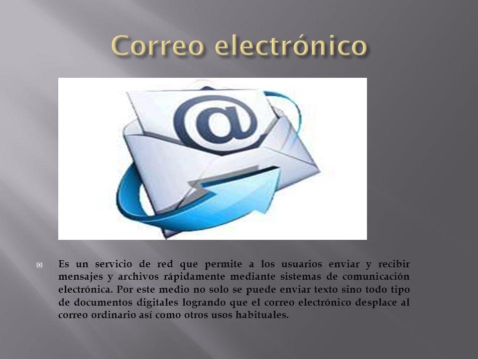 Es un servicio de red que permite a los usuarios enviar y recibir mensajes y archivos rápidamente mediante sistemas de comunicación electrónica. Por e