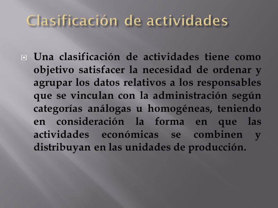 Una clasificación de actividades tiene como objetivo satisfacer la necesidad de ordenar y agrupar los datos relativos a los responsables que se vincul
