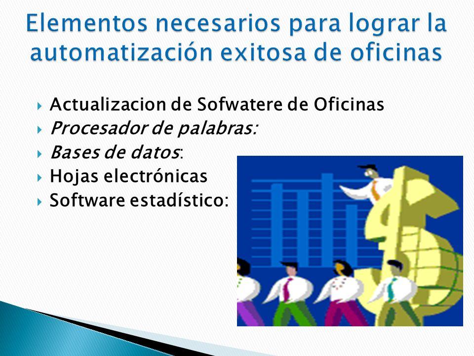 Actualizacion de Sofwatere de Oficinas Procesador de palabras: Bases de datos: Hojas electrónicas Software estadístico: