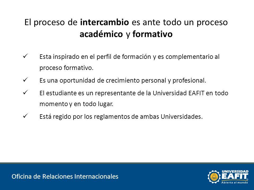El proceso de intercambio es ante todo un proceso académico y formativo Esta inspirado en el perfil de formación y es complementario al proceso formativo.