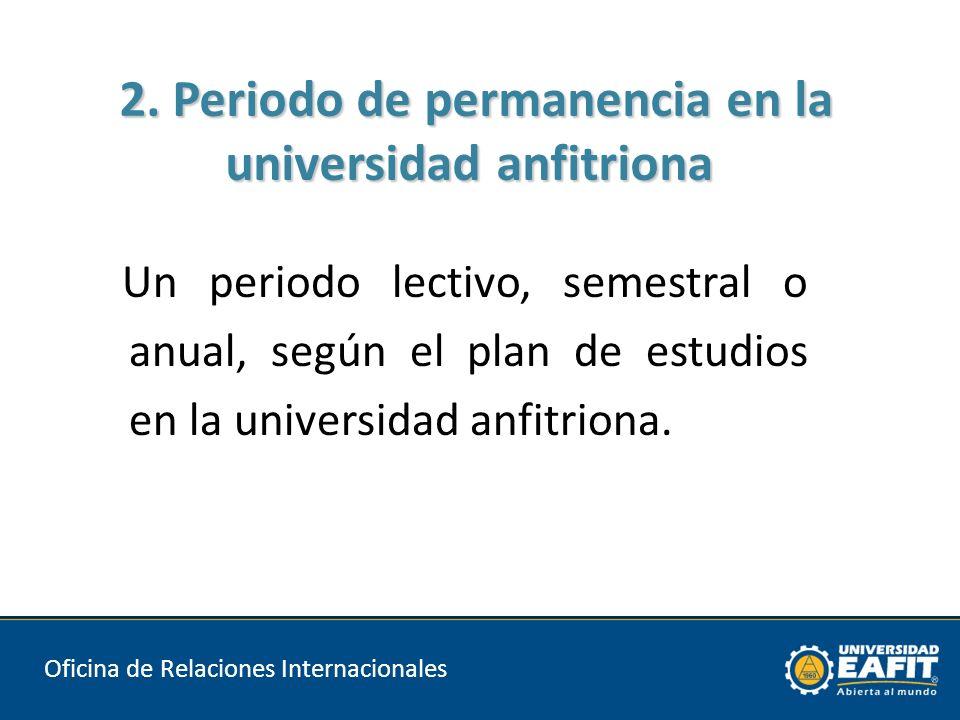 Un periodo lectivo, semestral o anual, según el plan de estudios en la universidad anfitriona.