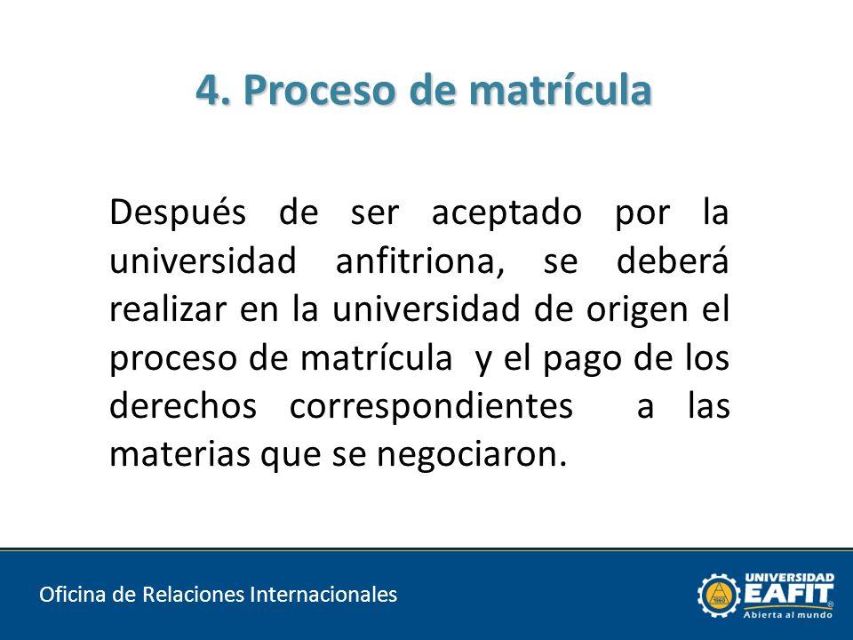 4. Proceso de matrícula Oficina de Relaciones Internacionales ESCUELA DE INGENIERIA Después de ser aceptado por la universidad anfitriona, se deberá r