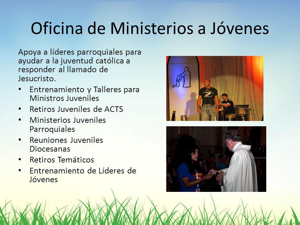 Oficina de Ministerios a Jóvenes Apoya a líderes parroquiales para ayudar a la juventud católica a responder al llamado de Jesucristo. Entrenamiento y