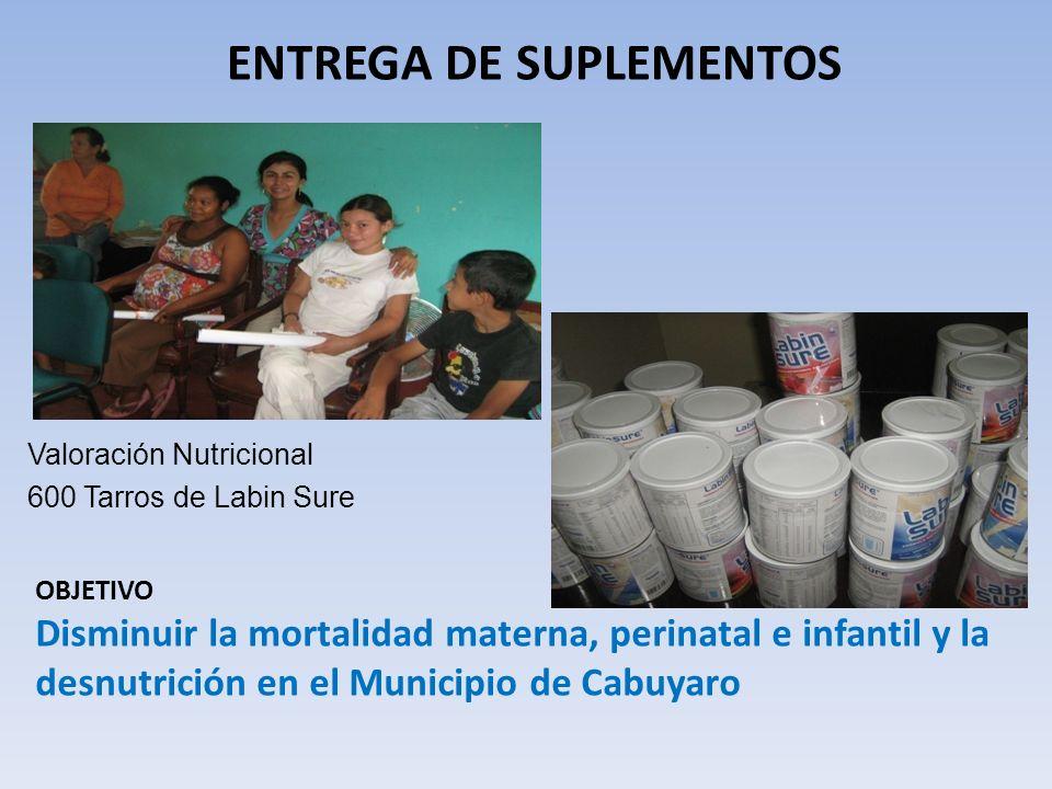 ENTREGA DE SUPLEMENTOS Valoración Nutricional 600 Tarros de Labin Sure OBJETIVO Disminuir la mortalidad materna, perinatal e infantil y la desnutrició