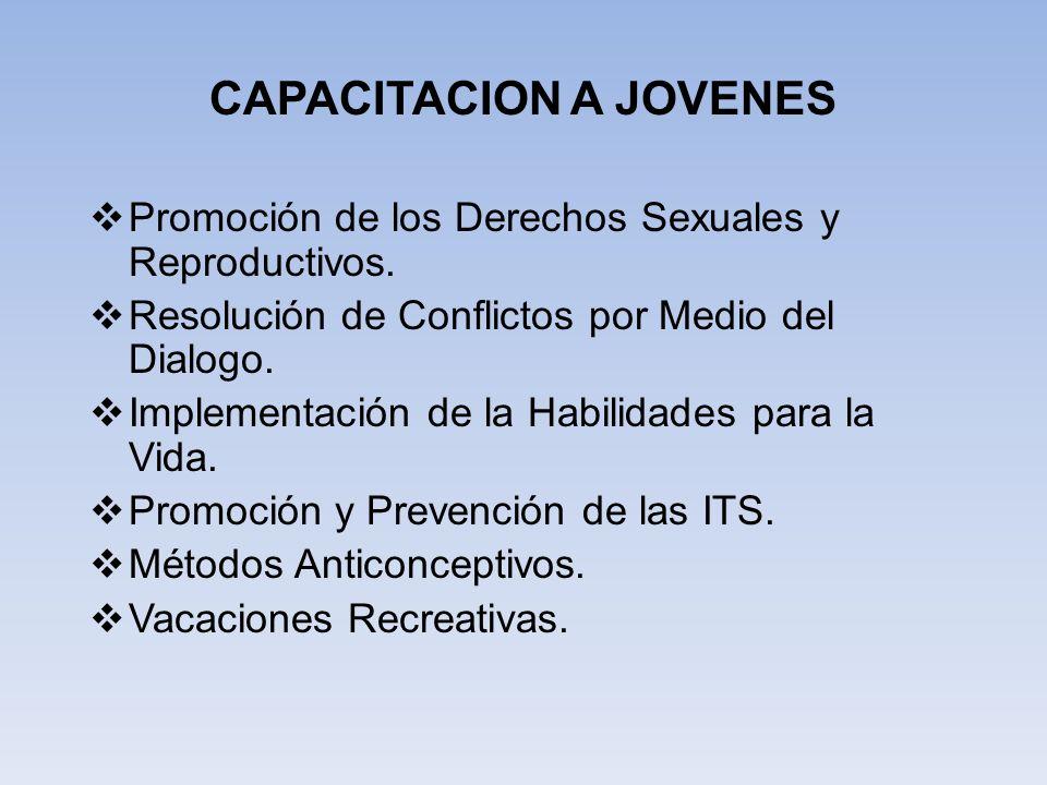 CAPACITACION A JOVENES Promoción de los Derechos Sexuales y Reproductivos. Resolución de Conflictos por Medio del Dialogo. Implementación de la Habili