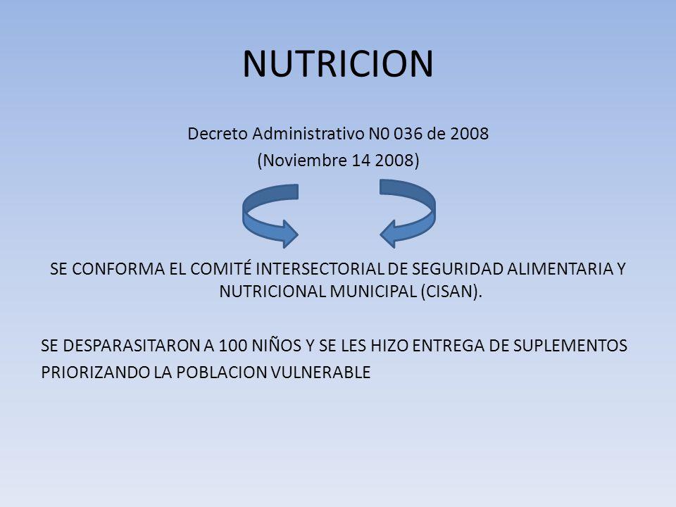 NUTRICION Decreto Administrativo N0 036 de 2008 (Noviembre 14 2008) SE CONFORMA EL COMITÉ INTERSECTORIAL DE SEGURIDAD ALIMENTARIA Y NUTRICIONAL MUNICI