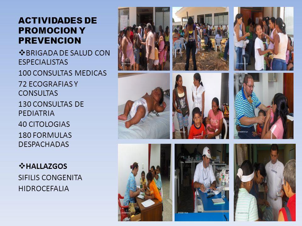 ACTIVIDADES DE PROMOCION Y PREVENCION BRIGADA DE SALUD CON ESPECIALISTAS 100 CONSULTAS MEDICAS 72 ECOGRAFIAS Y CONSULTAS 130 CONSULTAS DE PEDIATRIA 40