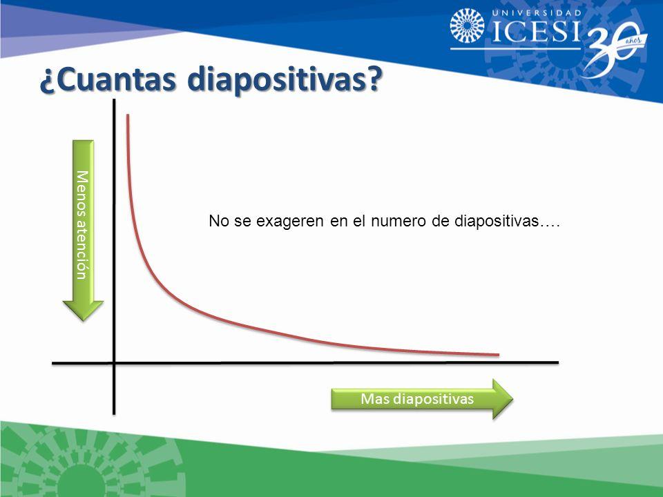 Mas diapositivas Menos atención No se exageren en el numero de diapositivas….