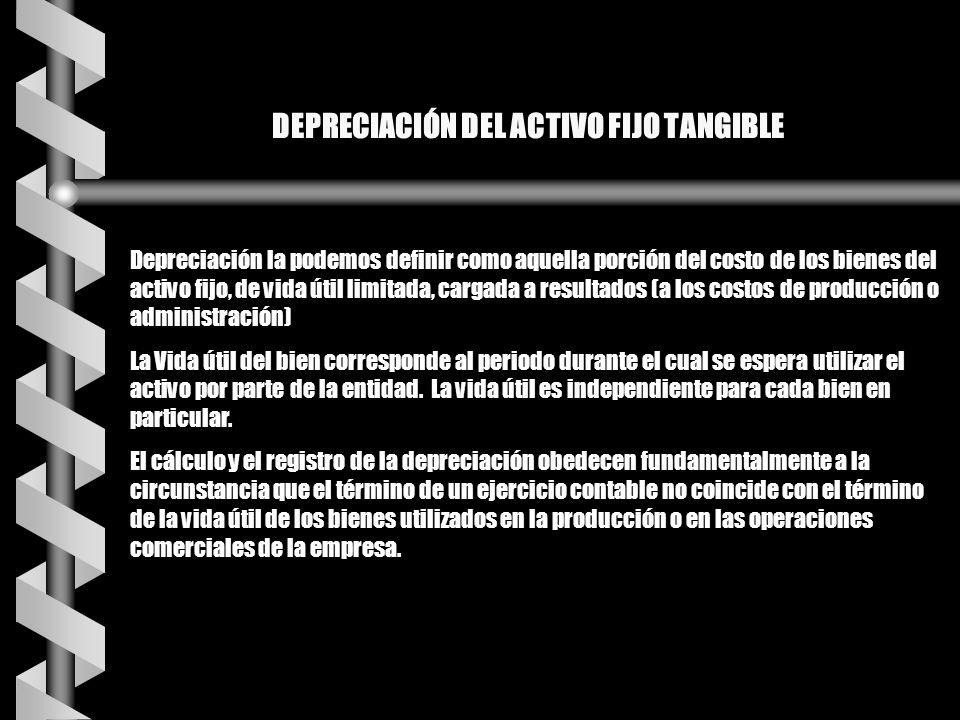DEPRECIACIÓN DEL ACTIVO FIJO TANGIBLE Depreciación la podemos definir como aquella porción del costo de los bienes del activo fijo, de vida útil limit