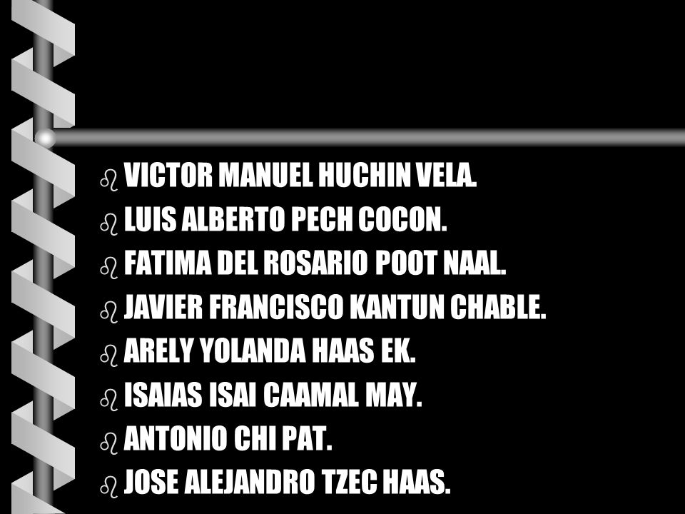 b VICTOR MANUEL HUCHIN VELA. b LUIS ALBERTO PECH COCON. b FATIMA DEL ROSARIO POOT NAAL. b JAVIER FRANCISCO KANTUN CHABLE. b ARELY YOLANDA HAAS EK. b I