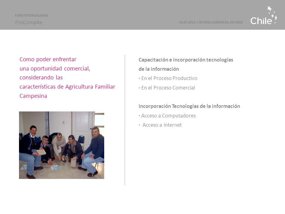 Marcas Sectoriales | ProChile Como poder enfrentar una oportunidad comercial, considerando las características de Agricultura Familiar Campesina Capacitación e incorporación tecnologías de la información · En el Proceso Productivo · En el Proceso Comercial Incorporación Tecnologías de la información · Acceso a Computadores · Acceso a internet 03.07.2013 / OFICINA COMERCIAL DE CHILE FORO INTERNACIONAL ProCompite