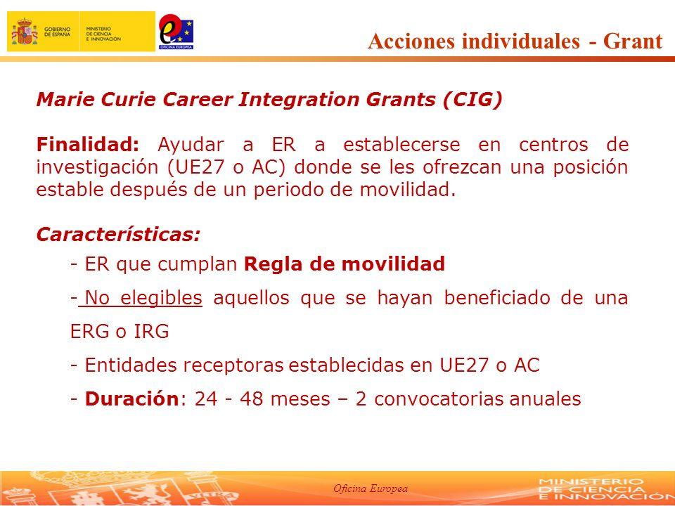Oficina Europea Marie Curie Career Integration Grants (CIG) Finalidad: Ayudar a ER a establecerse en centros de investigación (UE27 o AC) donde se les ofrezcan una posición estable después de un periodo de movilidad.