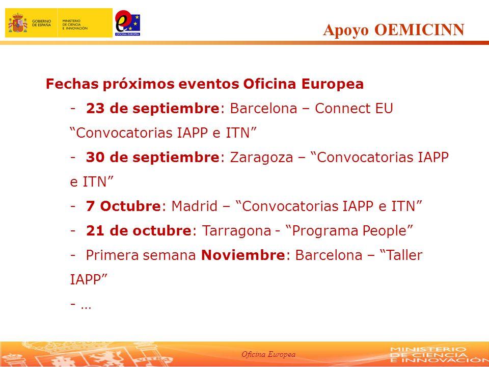 Oficina Europea Apoyo OEMICINN Fechas próximos eventos Oficina Europea - 23 de septiembre: Barcelona – Connect EU Convocatorias IAPP e ITN - 30 de septiembre: Zaragoza – Convocatorias IAPP e ITN - 7 Octubre: Madrid – Convocatorias IAPP e ITN - 21 de octubre: Tarragona - Programa People - Primera semana Noviembre: Barcelona – Taller IAPP - …