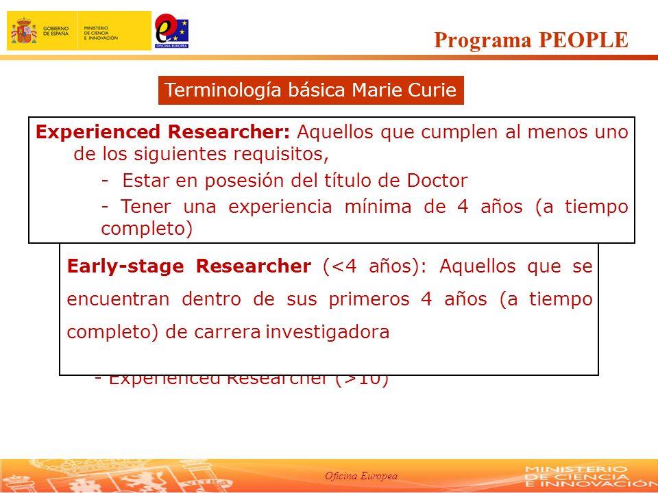 Oficina Europea -Regla General de Movilidad: No haber residido ni trabajado más de 12 meses en los últimos 3 años en el país del centro contratante - Experiencia de los investigadores - Early Stage Researcher (ESR) - Experienced Researcher (ER) (4-10) - Experienced Researcher (>10) Programa PEOPLE Terminología básica Marie Curie Early-stage Researcher (<4 años): Aquellos que se encuentran dentro de sus primeros 4 años (a tiempo completo) de carrera investigadora Experienced Researcher: Aquellos que cumplen al menos uno de los siguientes requisitos, - Estar en posesión del título de Doctor - Tener una experiencia mínima de 4 años (a tiempo completo)