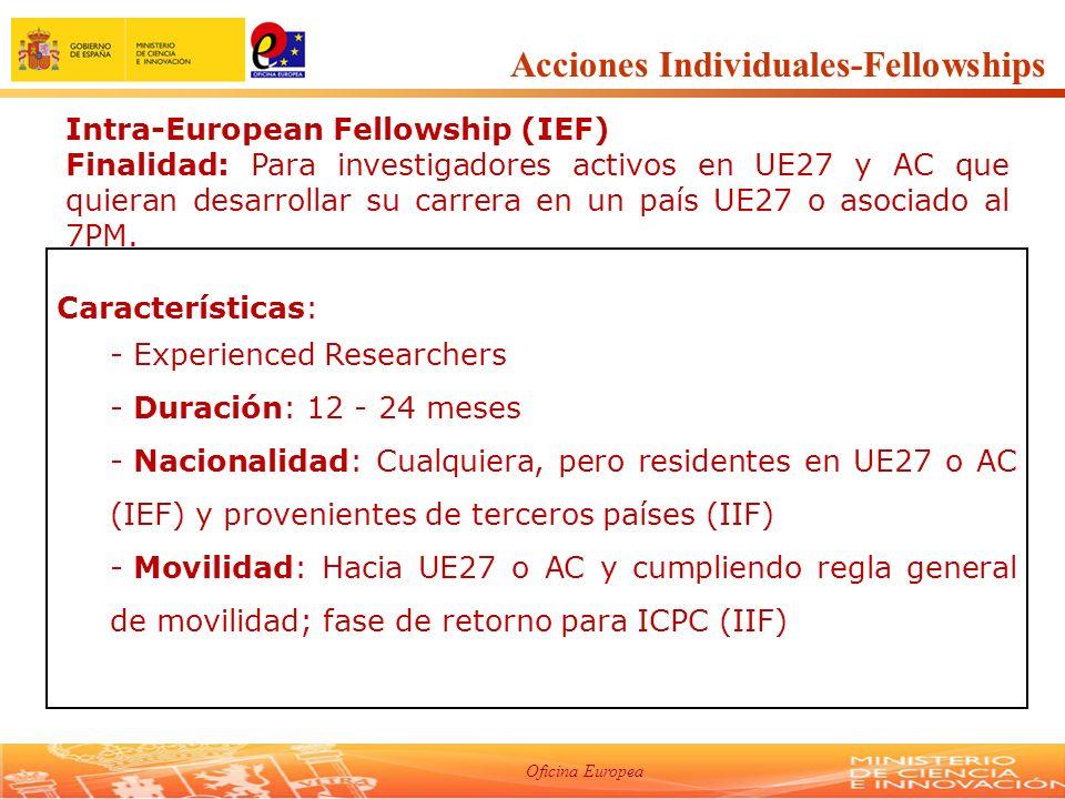 Oficina Europea International Outgoing Fellowships (IOF) Finalidad: Apoyo a investigadores UE27 y AC para recibir formación en terceros países.